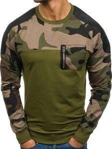 Bolf Herren Sweatshirt ohne Kapuze Khaki  0749