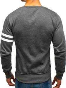 Bolf Herren Sweatshirt ohne Kapuze mit Motiv Anthrazit-Grau  J45